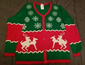Spencers Ugly Christmas Sweaters.Details About Ugly Christmas Cardigan Sweater Spencers Xl Humping Reindeer
