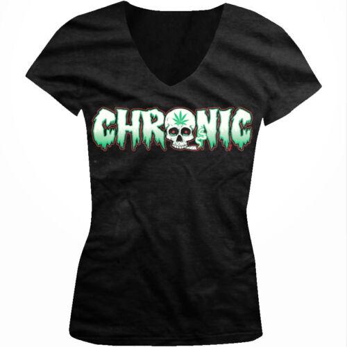 Chronic Skull Joint Smoke Weed Pot Marijuana Bong Hit Dat Juniors V-Neck T-Shirt