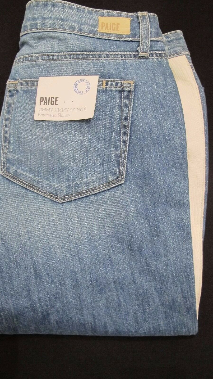 PAIGE JIMMY BOYFRIEND SKINNY MID RISE LIGHT WASH LEATHER ACCENT JEANS SZ 27 NWT.