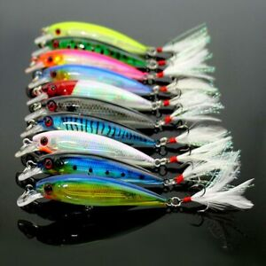 10stk-Minnow-Fischkoeder-Koeder-Bass-Crank-Bait-Tackle-Feather-Haken-10cm