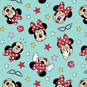 Minnie-Mouse-Being-Silly-mint-Disney-Baumwollstoff-Kinderstoff