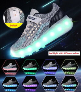 Kids Roller Shoes Heelys Boys Girls Sports Wheels Skates Gift Flash LED Trainers