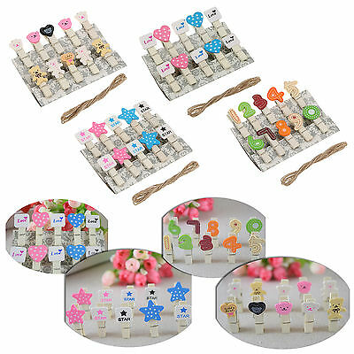 Mini Wooden Pegs Photo Clips Wedding Room Table Decor Shabby Chic Craft Choose