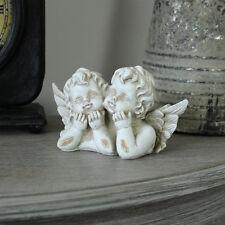 Gemelli Cherubini Angel Ornamento Fata SHABBY CHIC VINTAGE Regalo decorata pezzo di visualizzazione