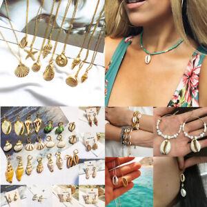 Fashion-Women-Shell-Cowrie-Beach-Sea-Pendant-Choker-Gold-Chain-Necklace-Jewelry