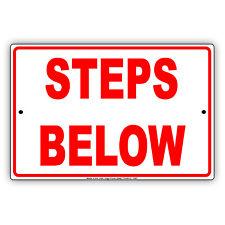 Steps Below Stairs Notice Caution Novelty Wall Art Decor Aluminum Metal Sign