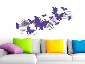 Das Bild Wird Geladen Wandtattoo Wandsticker Deko  Aufkleber Fuer Wohnzimmer Linien Schmetterlinge