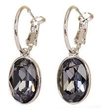 Swarovski Elements Crystal Black Diamond Puzzle Pierced Earrings Rhodium 7177y