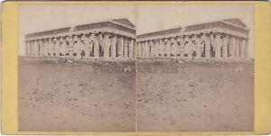 Tempio-Da-Nettuno-Paestum-Italia-Stereo-Vintage-Albumina-Ca-1870