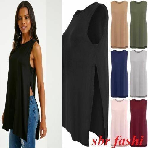 New Women Ladies High Split Side Long Midi Jersey Slit Tunic Sleeveless Vest Top