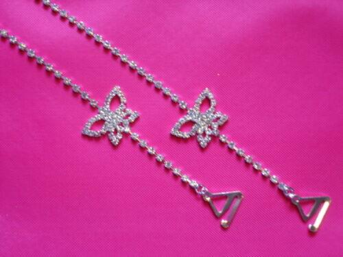 BUTTERFLY Diamante Row Diamonte detachable Party Prom DRESS Removable BRA STRAPS