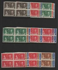 1937 Coronation full omnibus set 202 MLH mounted mint as blocks of 4 stamps 2MNH