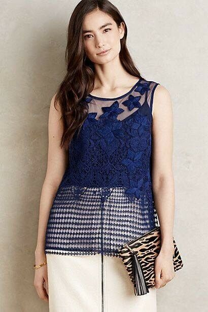 NWT ANTHROPOLOGIE DALBY MESH CROCHET TANK TOP LET ME BE Beaded Large