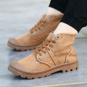 Men-Outdoor-Military-Canvas-Boots-Lace-Up-Combat-Army-Desert-Shoes-Work-US-9-11