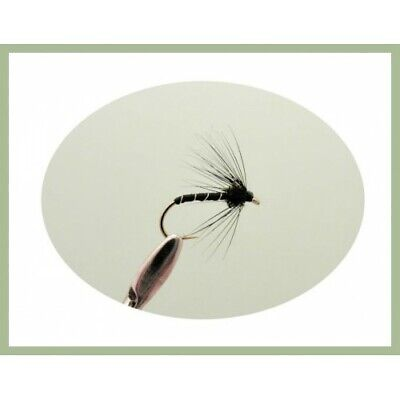 HACKLED 3  X BLACK ANT DRY FLIES size 12 16 available 14