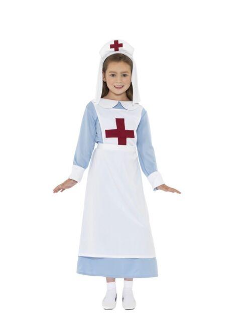 Girls Childrens Vintage War Nurse Costume Fancy Dress Stethoscope Age 4-14 Teen