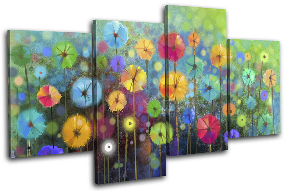 Watercolour Style Flowers Meadow Floral MULTI Leinwand Kunst Bild drucken