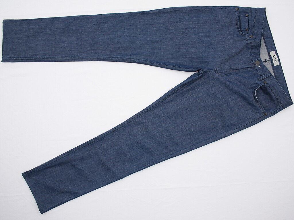 Womens ACNE Flex S Linen Slim Tapered Lightweight Stretch Jeans 30W 31L NU COND