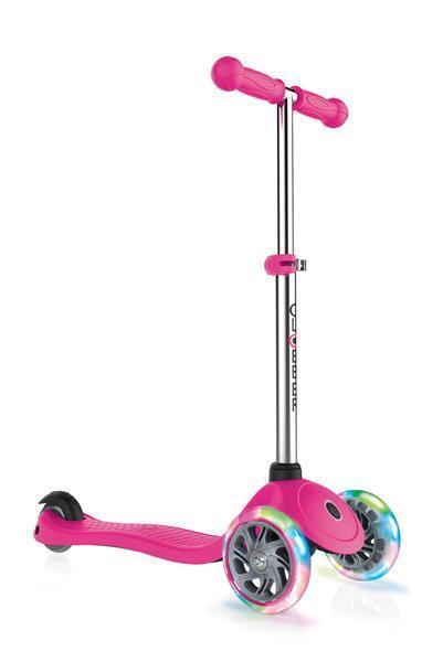 Scooter Kinderroller Globber Primo lights Rosa mit Leuchtrolle