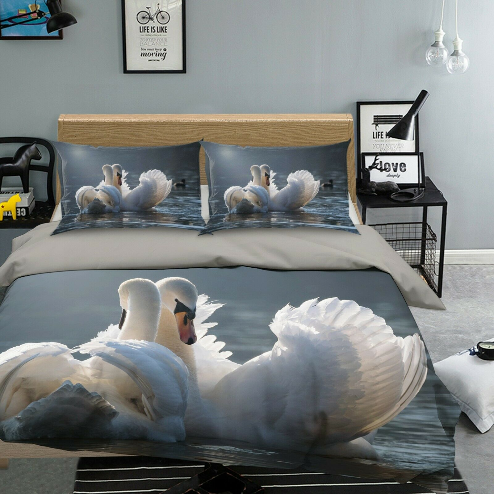 3D blanc Swan O98 Animal Bed PilFaiblecases Quilt Duvet Cover Set Queen King Amy