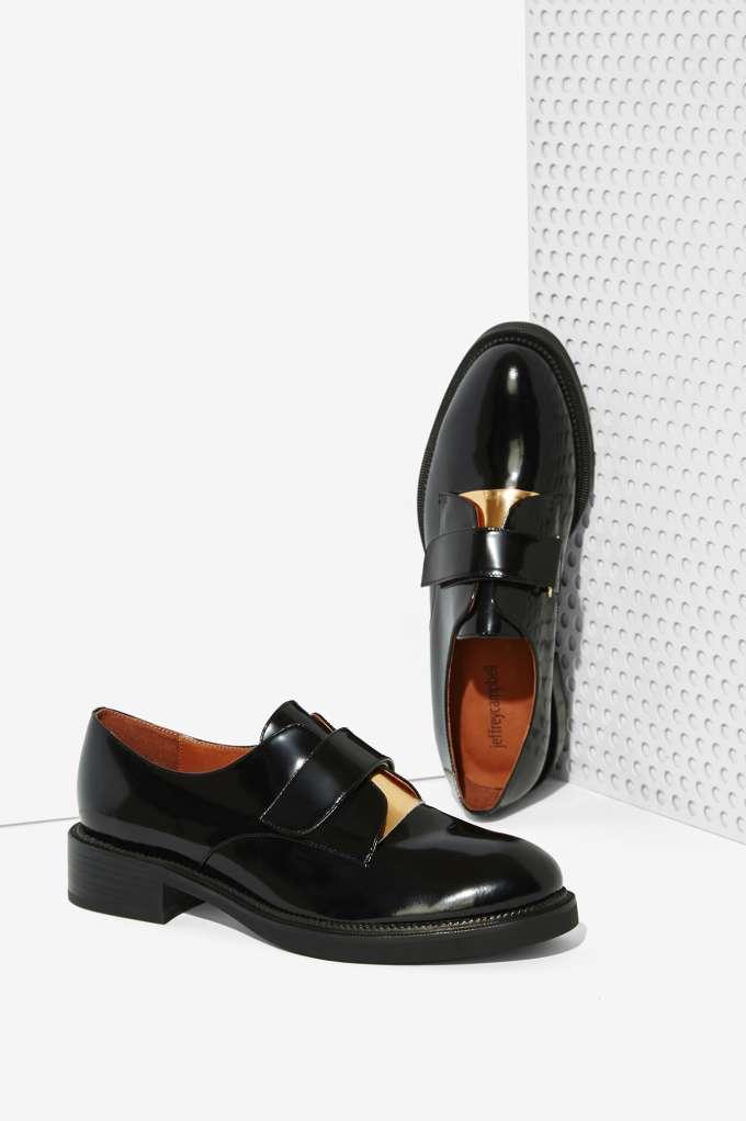 Nuevo Jeffrey Campbell Negro Calverde Zapatos Cuero Oxford Zapatos Calverde Talla 6 ea7b56