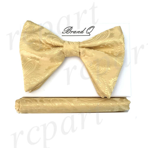 Details about  /New in box formal Men Pre-tied long style paisley Bow tie /& Hankie Gold yellow