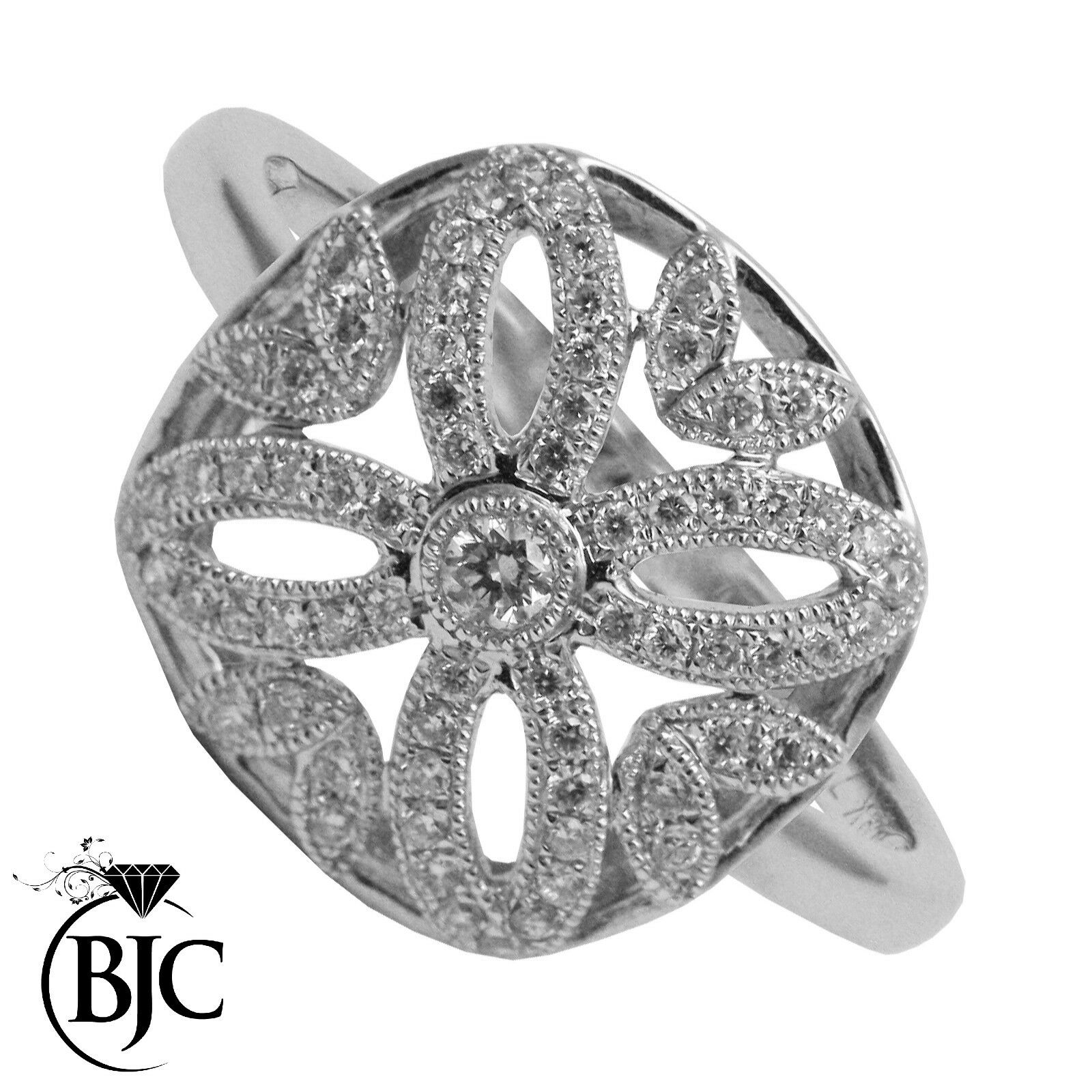 Bjc 18Ct gold whiteo 0.38 Ct Diamante size M Cóctel Flor Anillo de Compromiso