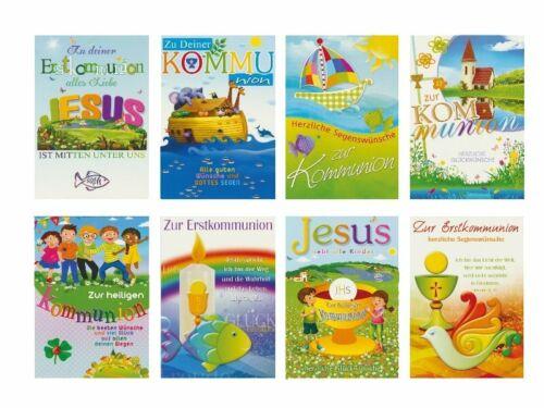 Glückwunschkarten zur Kommunion Sonne Taube Motive Grußkarten 12-2250
