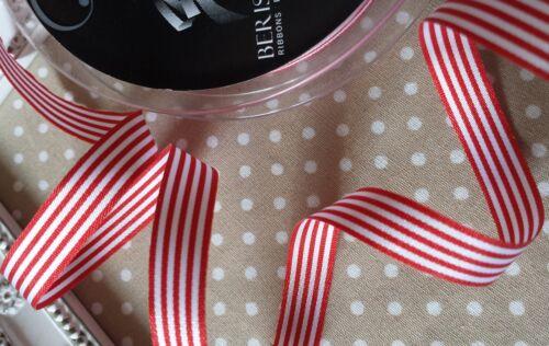 Soft feel Gift wrap Card 1M x 9mm Quality Candy Pencil Striped Ribbon