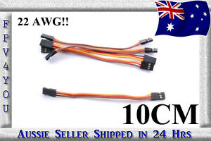 Male-to-Male-Servo-lead-10cm-x5-THICKER-22AWG-Quad-Tricopter-FREE-POST