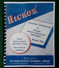 Hickok 534 Tube Tester Instruction Manual Amp Tube Data