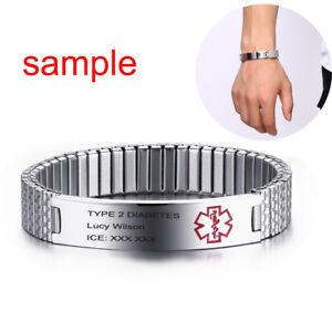 Stretch-Women-Medical-Alert-ID-Cuff-Bracelet-Watch-Band-Cuff-Customize-Engraving