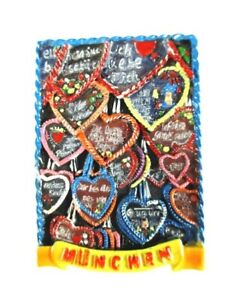 München Oktoberfest Gingerbread Hearts Magnet Poly Relief 7 CM Germany Gift, New