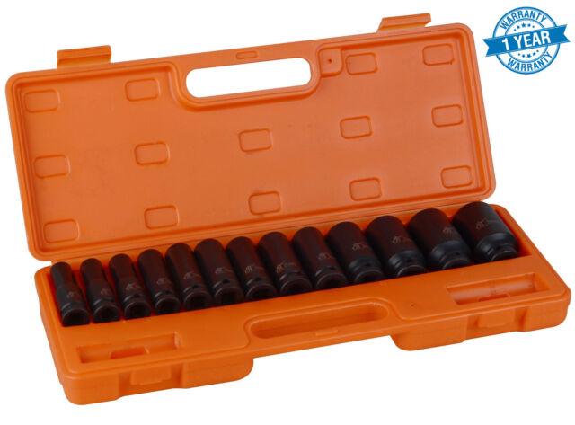 "13 pc 1/2"" inch Heavy Duty Deep Impact Socket Tool Set 10-32mm Metric Garage"