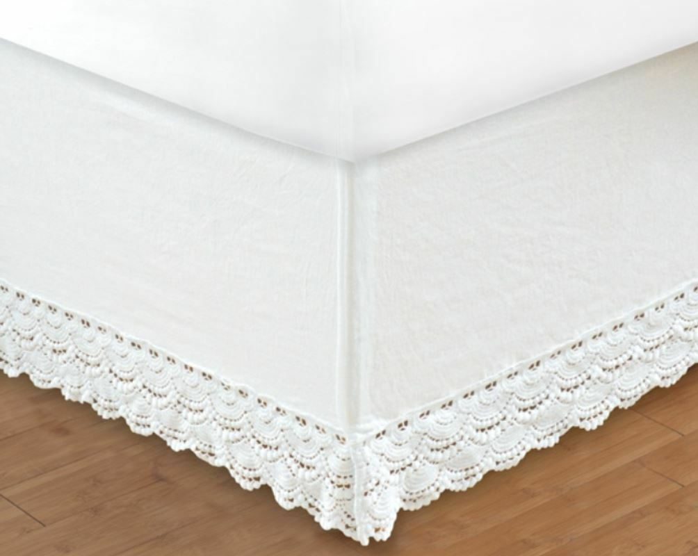 WHITE CROCHET Twin Full Queen King BEDSKIRT   COTTAGE VINTAGE BED SKIRT RUFFLE