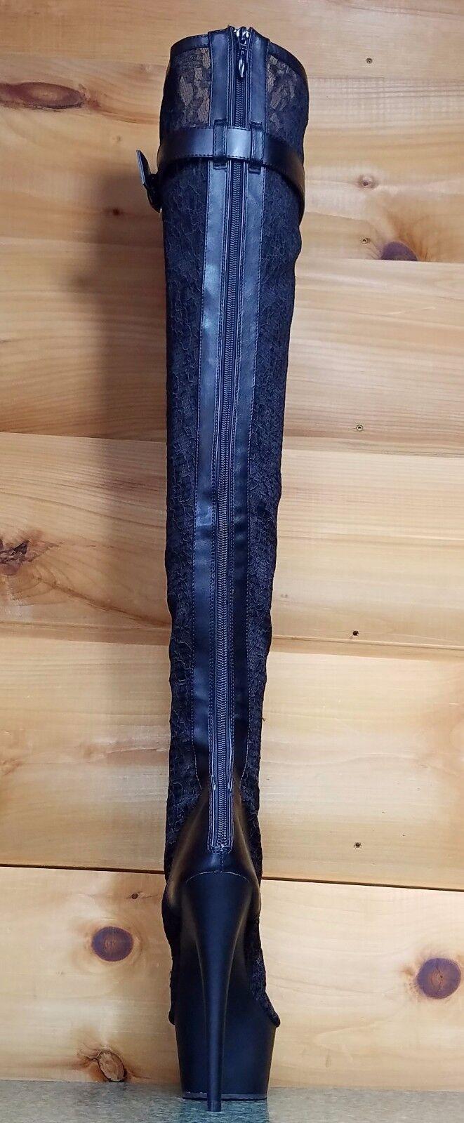 3025 Ml Panel De Encaje Negro Plataforma Botas De Plataforma Negro OTK alto del muslo Tacón de 6 o 7 6466e4