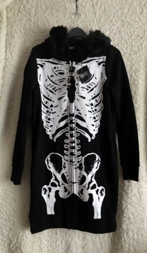 di con Wishbone Felpa S con Halloween Taglia Horror Fist cappuccio pelliccia Nuovo tag Goth Foderato Iron qBSwct5xP5