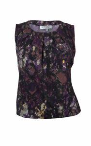 Kasper-Women-039-s-Sleeveless-Pleated-Neck-Jersey-Blouse-PXL-Fig-Multi