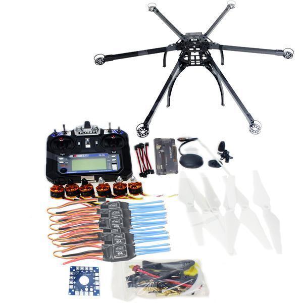 Hexacóptero de seis ejes GPS DRONE Kit con tx&rx 6CH Controlador de Vuelo APM