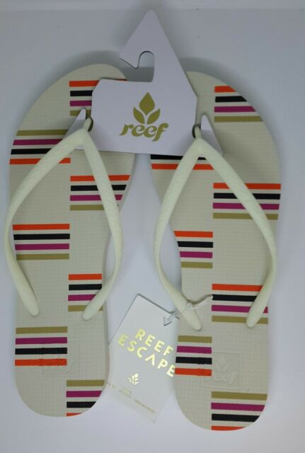 04380b76a172 Reef Womens Stripey Flip Flops Escape Cream Stripes Sandals UK 7 EU 40 US 9