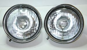 2-x-CLASSIC-FIAT-500-LHD-HEADLIGHTS-WITH-CHROME-RIM-HEADLAMPS-PAIR-KIT-CHROME