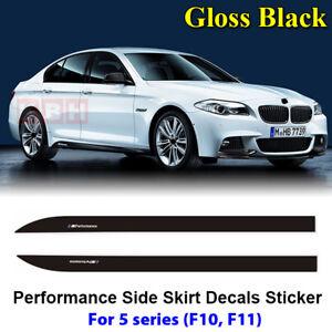 Fits-BMW-F10-F11-5-Series-M-Performance-Side-Skirt-Decal-Stickers-GLOSS-BLACK