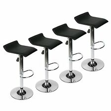 Set of 4 Bar Stools PU Leather Adjustable Swivel Pub Chair Kitchen Dining Black