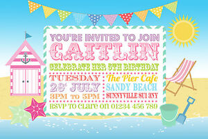 Image Is Loading 10 Personalised Childrens Beach Party Invitations Seaside Birthday