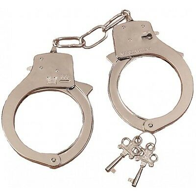 NOVELTY STEEL METAL HANDCUFFS FANCY DRESS HANDCUFFS HEN STAG NIGHT POLICEMAN