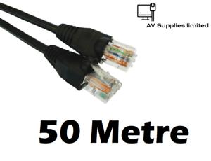 Black-50m-CAT6-Network-LAN-Cable-Gigabit-Ethernet-Indoor-Outdoor-Thick-Jacket