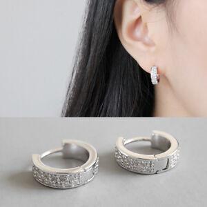 Creolen Sterne echt Sterling Silber 925 Zirkonia Damen Ohrringe Kreolen