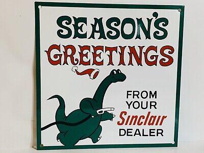 Sinclair gasoline DINO vintage advertising sign garage man cave round