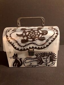 "Plastic Art Piece Hand Painted Vintage ""LUNCH BOX"" Hand Bag 1980 Barnard Artist"
