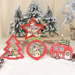 Weihnachtsbaum-Hoelzern-Ornament-LED-Licht-Deko-Pentagramm-Liebesherz-Lampe-Xmas